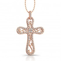 14k Rose Gold Vintage Diamond Cross Pendant