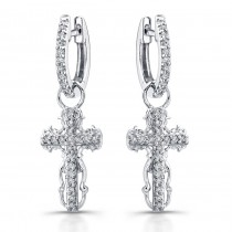 14k White Gold Vintage Diamond Cross Earrings