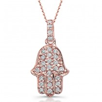 14k Rose Gold Pave Diamond Hamsa Pendant