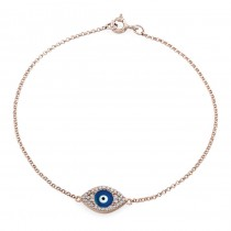 14k Rose Gold Diamond Encrusted Dark Blue Enamel Evil Eye Bracelet