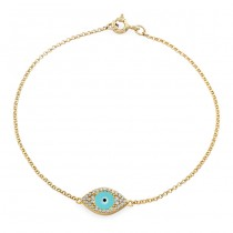 14k Yellow Gold Diamond Encrusted Light Blue Enamel Evil Eye Bracelet