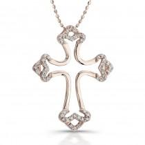 14k Rose Gold Diamond Micro Prong Cross Pendant