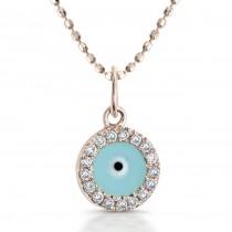 14k Rose Gold Diamond and Enamel Evil Eye Pendant