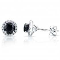 14k White Gold Diamond Halo Earrings Black Diamond Center
