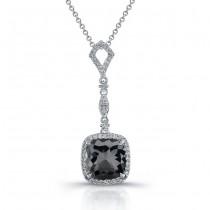 18k White Gold Rose Cut Black Diamond Pendant
