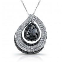 18k White Gold Pear Shaped Black Diamond Pave Pendant