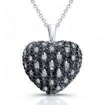 14k White Gold Black Diamond Heart Pendant