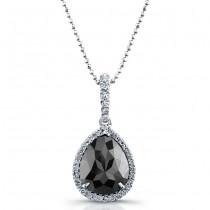 18k White Gold Pear Shaped Black Diamond Halo Pendant