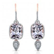 14k Rose Gold Amethyst Diamond Earrings
