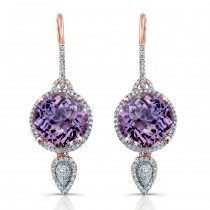 14k Rose Gold Round Amethyst Diamond Earrings