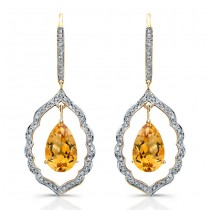 14k Yellow Gold Pear Shaped Citrine Diamond Earrings