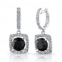 14k White Gold Black Diamond Pave Halo Dangle Earrings