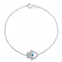 14k White Gold Diamond Turquoise Hamsa Chain Bracelet
