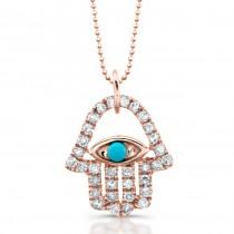 14k Rose Gold Hamsa Design Pendant with Turquoise Stone
