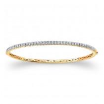 14k Yellow Gold White Diamond Bangle Bracelet