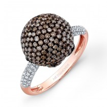 14k Rose Gold Brown and White Diamond Ball Ring