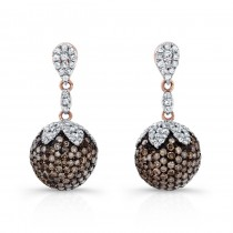 14k Rose Gold White and Brown Diamond Ball Earrings