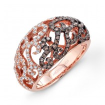 14k Rose Gold Brown and White Diamond Pattern Ring