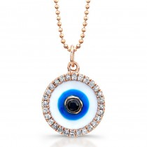 14k Rose Gold Enamel Evil Eye Pendant with Black Diamond Center