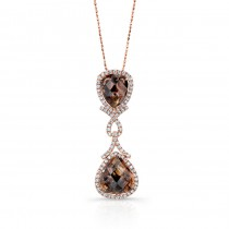 14k Rose Gold Rose-Cut Brown and White Diamond Pendant