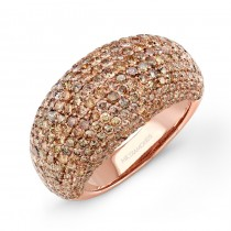18k Rose Gold Micro Pave Brown Diamond Ring