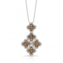 18k Rose Gold Brown and White Diamond Cluster Pendant