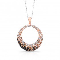 14k Rose Gold Black, Brown and White Diamond Circle Pendant
