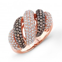 18k Rose Gold Thick Brown and White Diamond Band