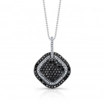 14k White and Black Gold White and Black Diamond Contrast Square Pendant