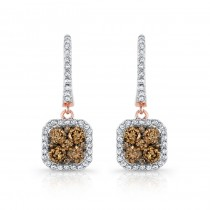 18k Rose Gold Brown and White Diamond Cluster Earrings