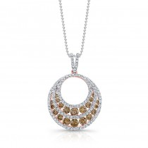 18k Rose Gold Brown and White Diamond Circle Pendant