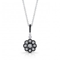18k White and Black Gold White and Black Diamond Flower Pendant