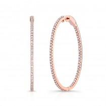 14k Rose Gold Inside Outside White Diamond Hoops