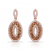 14k Rose Gold White and Brown Diamond Oval Frame Earrings
