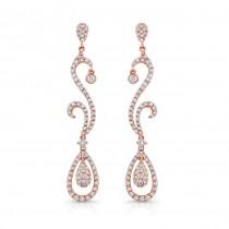 14k Rose Gold Intricate Scroll Diamond Drop Earrings