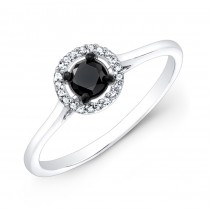 14k White and Black Gold White Diamond Halo Ring with a Black Diamond Center