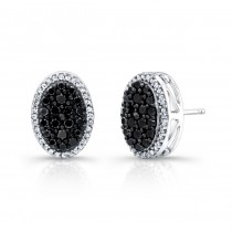 14k White and Black Gold Black and White Diamond Stud Earrings.