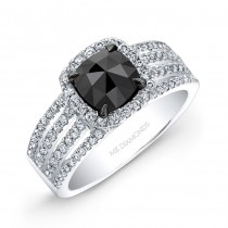 14k White Gold Rose Cut Black Diamond Center Engagement Ring Bridal Set