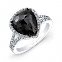 14k White and Black Gold Rose-cut Black Diamond Engagement Ring