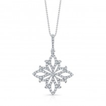 18k White Gold White Diamond Floral Filigree Pendant