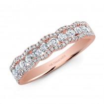 14k Rose Gold Scalloped Diamond Band