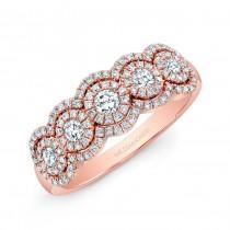 14k Rose Gold Five Diamond Diamond Halo Fashion Band