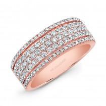 14K Rose Gold Five Row Diamond Fashion Band