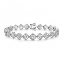 18K White Gold White Diamond Cushion Halo Tennis Bracelet