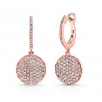 14k Rose Gold White Diamond Circle Earrings