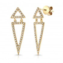14k Yellow Gold White Diamond Double Triangle Dangle Earrings