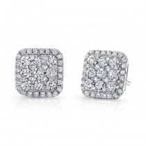 14k White Gold Square Halo White Diamond Stud Earrings