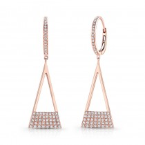 14k Rose Gold White Diamond Triangle Dangle Earrings