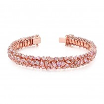 18K Rose Gold Mixed Natural Fancy Color Pink Bracelet