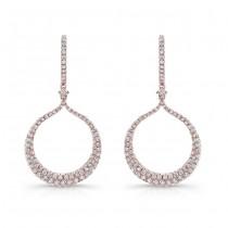 14k Rose Gold White Diamond Circle Drop Earrings